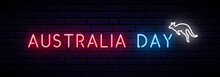Australia Day Long Banner With Neon Inscription And Kangaroo. Vector Light Signboard.