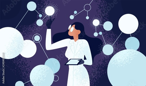Female scientist in lab coat checking artificial neurons connected into neural network. Computational neuroscience, machine learning, scientific research. Vector illustration in flat cartoon style.