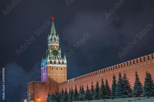 Beautiful view of Kremlin by night in winter Fototapeta