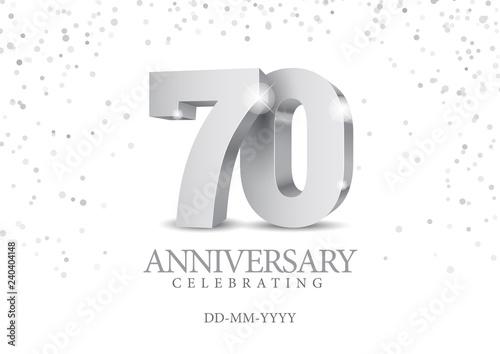 Fototapeta Anniversary 70. silver 3d numbers.