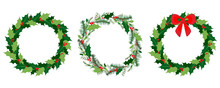 Vector Christmas Wreath Set With Winter Floral Elements. Season Greeting Card. Vector IllustrationSeason Greeting Card. Vector Illustration