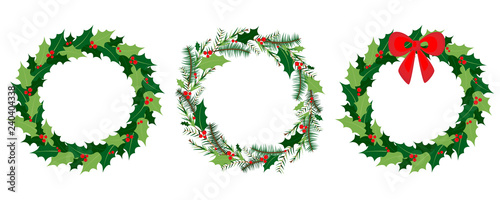 Fotografie, Obraz Vector Christmas wreath set with winter floral elements