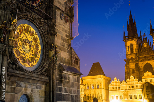 famous prague clock tower at old square Canvas Print