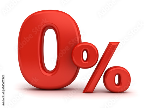 Fotografía  Red zero percent or 0 % isolated over white background with shadow 3D rendering