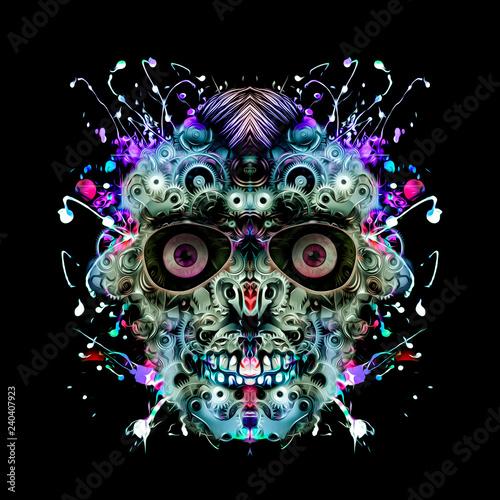 Механическое человеческое лицо из передач на белом фоне