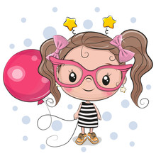 Cute Girl With Pink Glasses