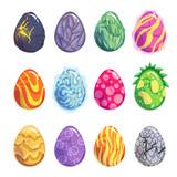 Fototapeta Dinusie - Eggs of fantasy dragon or dinosaur bright set
