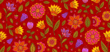 Red Vector Floral Textile Seam...