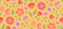 Trendy Colors Vector Floral Vintage Ornament Textile Tile, Vector Seamless Pattern