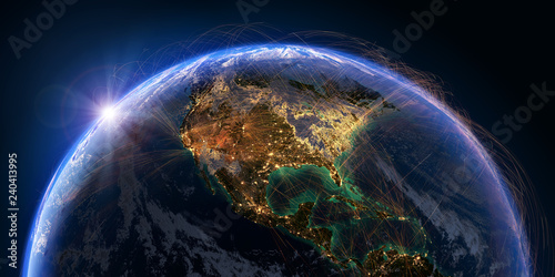 Canvas Print Planet Earth and aviation routes. 3D rendering
