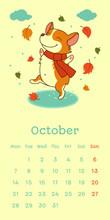 2019 October Calendar With Welsh Corgi Dog Dancing On Puddle On Falling Leaf Background