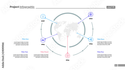 Five World Map Items Process Chart Slide Template Business Data Timeline Point Design For Infographic Presentation Report Topics Like Banking