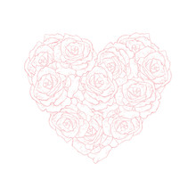 Bright Hand Drawn Floral Heart Symbol Vector Illustration. Pink Roses Isolated On A White Background. Lovely Elegant Pastel Color Design. Adorable Bouquet Of Heart Shape. Sweet Romantic Art.