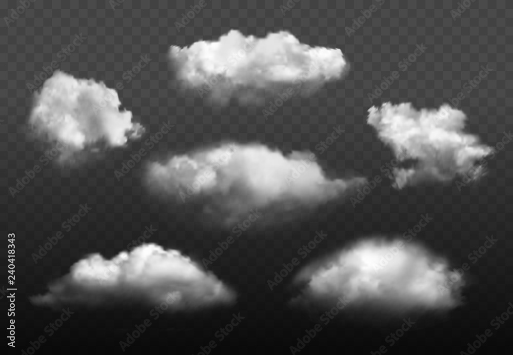 Fototapeta Clouds realistic. Blue cloudy sky weather elements vector picture set. Cloudy air environment, cloudscape atmosphere smoky illustration