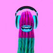 canvas print picture - Contemporary art collage.  Cactus Dj. Colorful music vibes