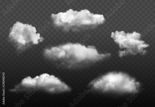 Obraz Clouds realistic. Blue cloudy sky weather elements vector picture set. Cloudy air environment, cloudscape atmosphere smoky illustration - fototapety do salonu