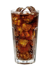 Cola In Glass With Clear Ice C...
