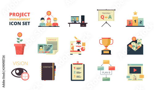 Project planning icon  Business strategy management processes map