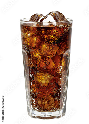 Photo Cola in glass with clear ice cubes isolated on white background