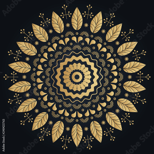 Foto auf AluDibond Boho-Stil Ethnic golden flower ornamental wreath. Vector boho lifestyle illustration.