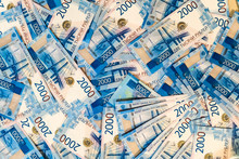 Russian Money Banknotes Background. Lots Of Two Thousandth Bills. Paper Rubles.