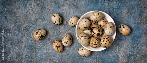 Top view on wide banner with small quail eggs in white bowl