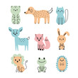 Set of cute cartoon animals. Bear, dog, cat, deer, fox, bunny, lion, frog, hedgehog. Funny hand drawn characters for invitation or birthday party