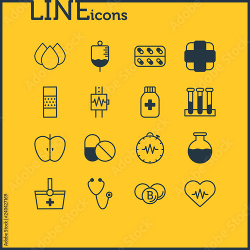 Fotografía  Vector illustration of 16 medicine icons line style