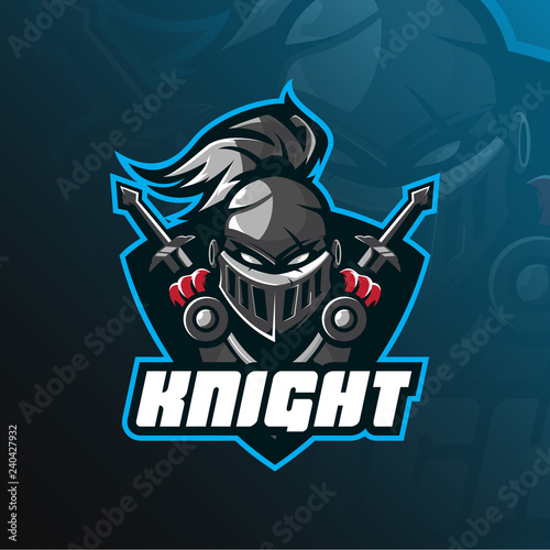 Photo  knight mascot logo vector design with modern illustration concept style for badge, emblem and t shirt printing