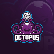 Octopus Mascot Logo Vector Design With Modern Illustration Concept Style For Badge, Emblem And T Shirt Printing. Octopus Illustration With Bring The Ball.