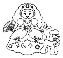 Princess In A Ball Gown And With A Dog.Educational Activity For Children. Printable Coloring Page For Kids.