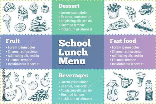 School Lunch Box Menu Template Sketches Of Food купить