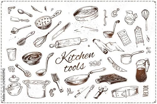 Obraz na plátne Hand drawn kitchen tools isolated vector icons set