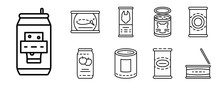 Tin Can Icon Set. Outline Set ...