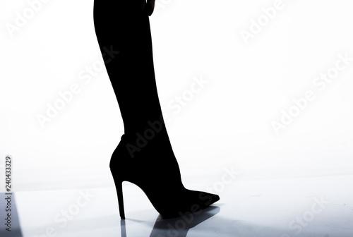 Fotobehang Illustratie Parijs Woman legs and black heels