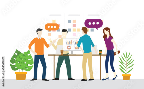standing or standup meeting daily plan for teamwork for agile and scrum developm Wallpaper Mural