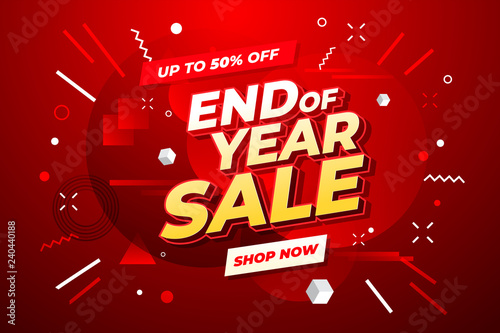 Fotografía  End of year sale banner. Sale banner template design.