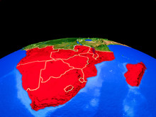 Southern Africa On Model Of Planet Earth With Country Borders And Very Detailed Planet Surface.