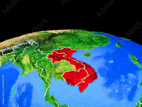 Foto  Indochina on model of planet Earth with country borders and very detailed planet surface