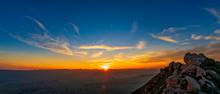 Sun Rays At Sunset On Horizon