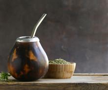 Traditional Yerba Mate Tea In Calabash Mug And Bombilla
