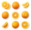 A set of whole and sliced oranges, cut out. Top view.