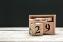 February 29th. Day 29 Of February Month, Calendar On Wooden Background. Winter Time