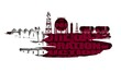 Energy and Power icons set and tags cloud. Design concept of natural gas industry. 3D rendering. Flag of the Qatar