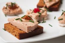 Closeup Of Foie Gras On Gingerbread In Festive Plate