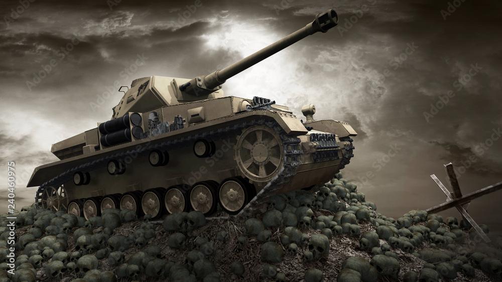 Fototapeta Old tank on the hill