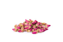 Flower Tea Rose Buds With Wooden Spoon Isolated On White Background - Flowers And Plants.