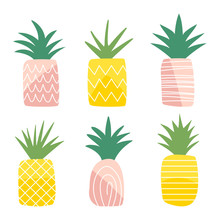 Set Of Cute Pineapples For Baby Design. Vector Isolated Illustration.