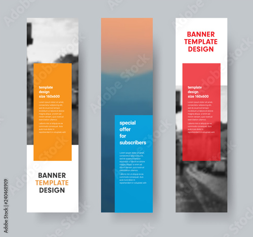 Template of vertical vector banners with transparent colored dice for text and place for photo.