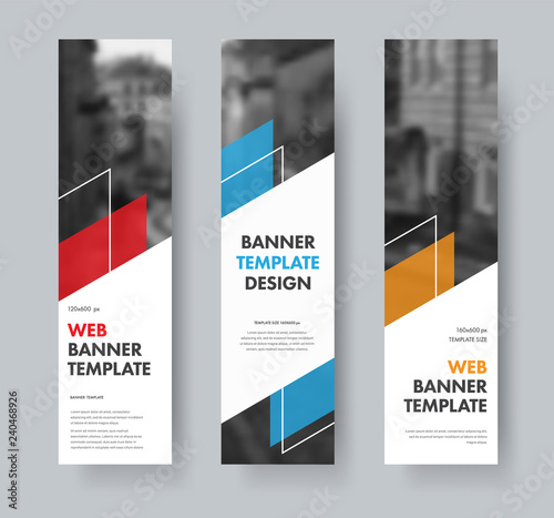 Obraz na plátně Templates for vertical web banners with diagonal elements for text, color design elements, lines and space for photos